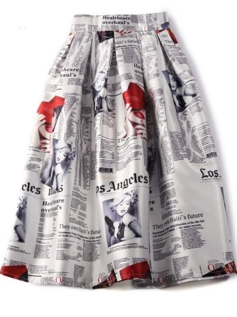 newspaper-print-50s-swing-skirt
