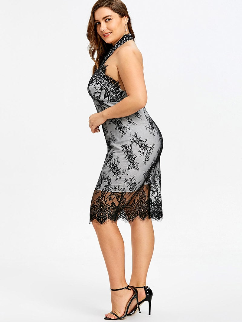 Plus Size Black Lace Halter Pencil Dress | Vintage Clothing ...