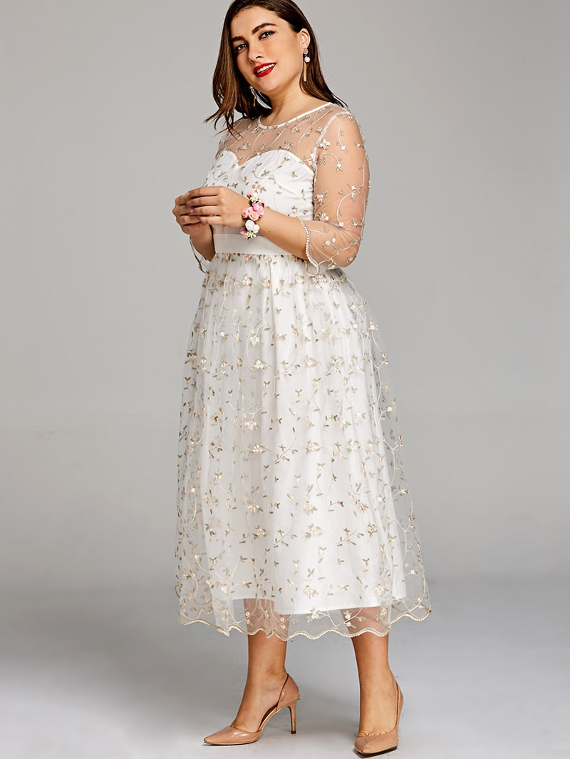 Plus Size Ivory Embroidered Occasion Dress | Vintage ...