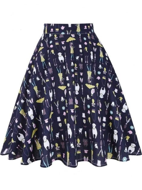 Raining Cats And Dogs 50s Swing Skirt