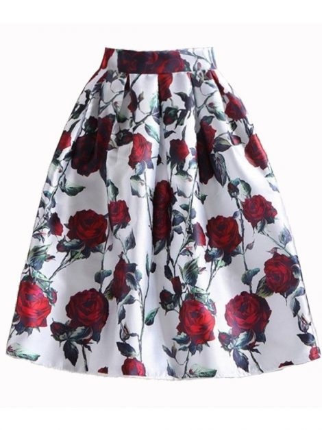 Red Rose 50s Swing Skirt