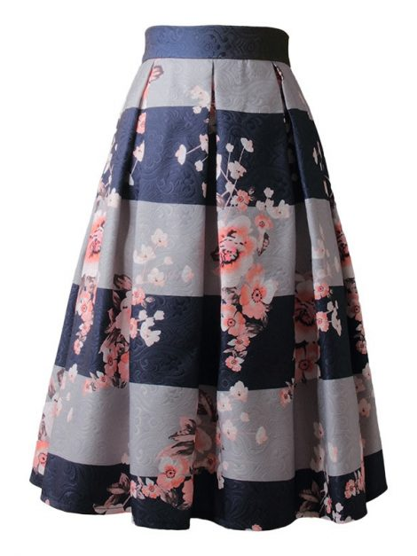 striped-blue-and-grey-floral-retro-skirt