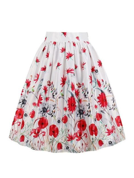 Wildflower red and white retro skirt