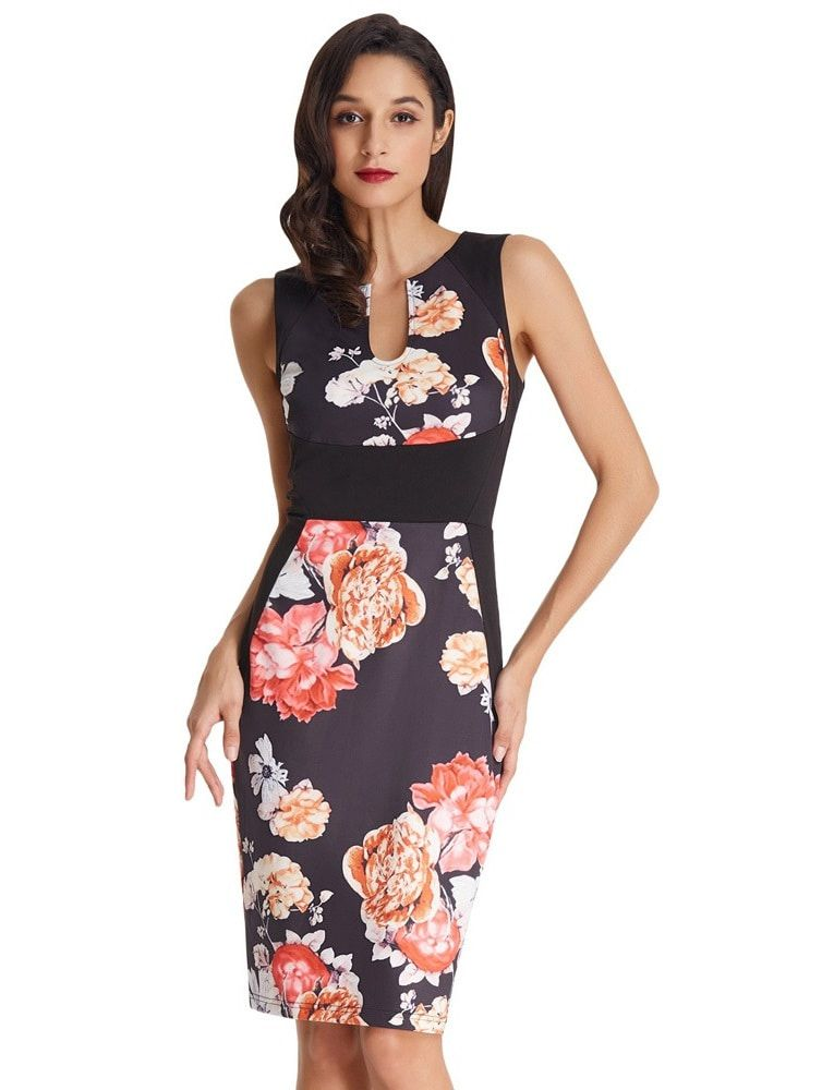 Black floral pencil dress
