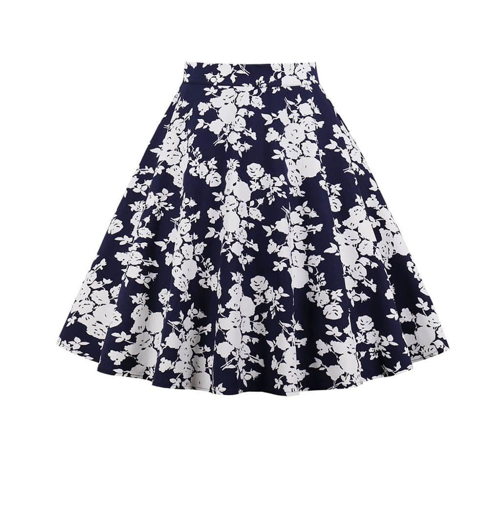 Blue and white delight 50s swing skirt