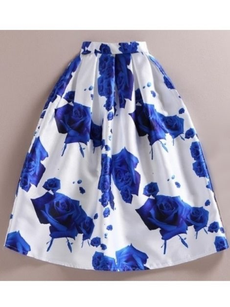 Blue rose retro swing skirt