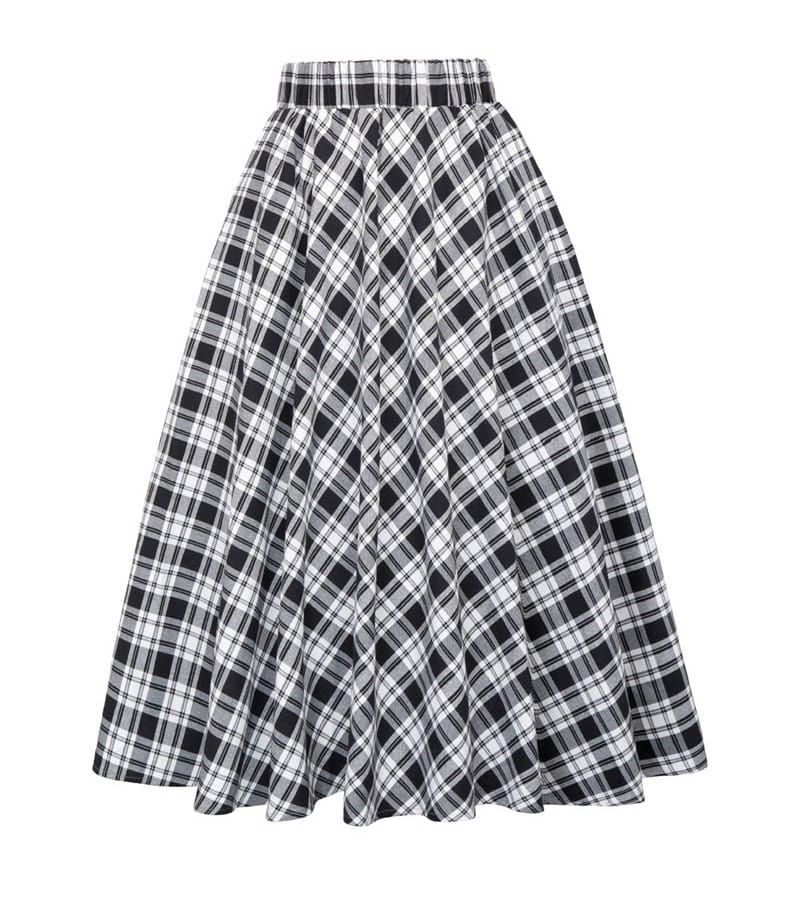 Classic Black And White Tartan Vintage Skirt