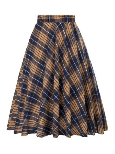 Classic navy and brown tartan vintage skirt