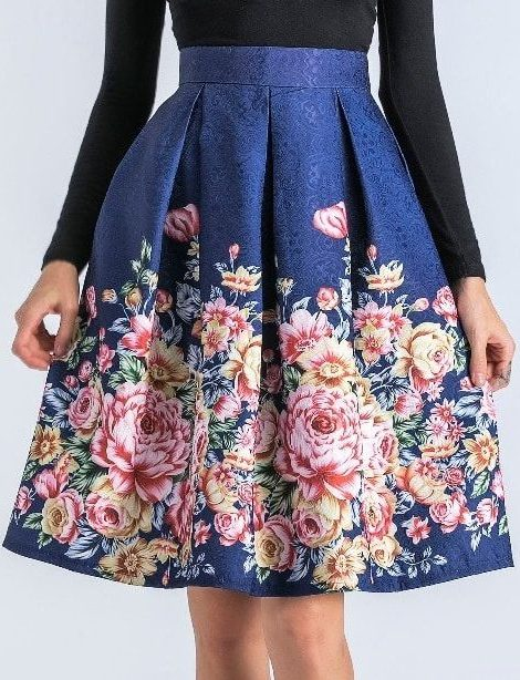 Gabriella Blue Retro Floral Skirt