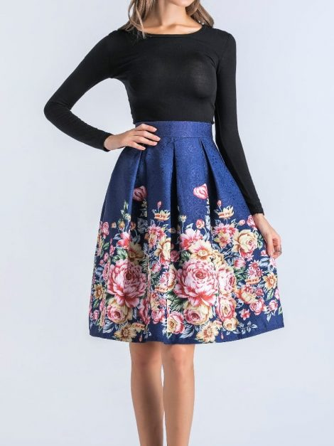gabriella-blue-retro-floral-skirt