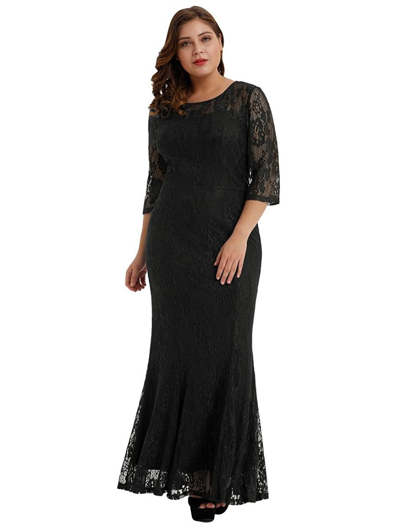 Josephine plus size black lace retro dress