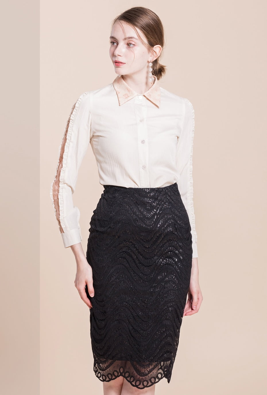 Lucy Black Lace Vintage Pencil Skirt Vintage Clothing