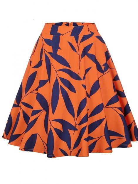 Mandy blue on orange leaf circle skirt