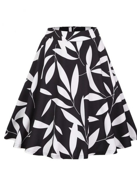 Mandy white on black leaf circle skirt