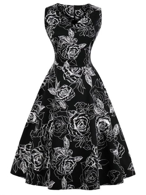 marie-v-neck-black-and-white-floral-50s-dress