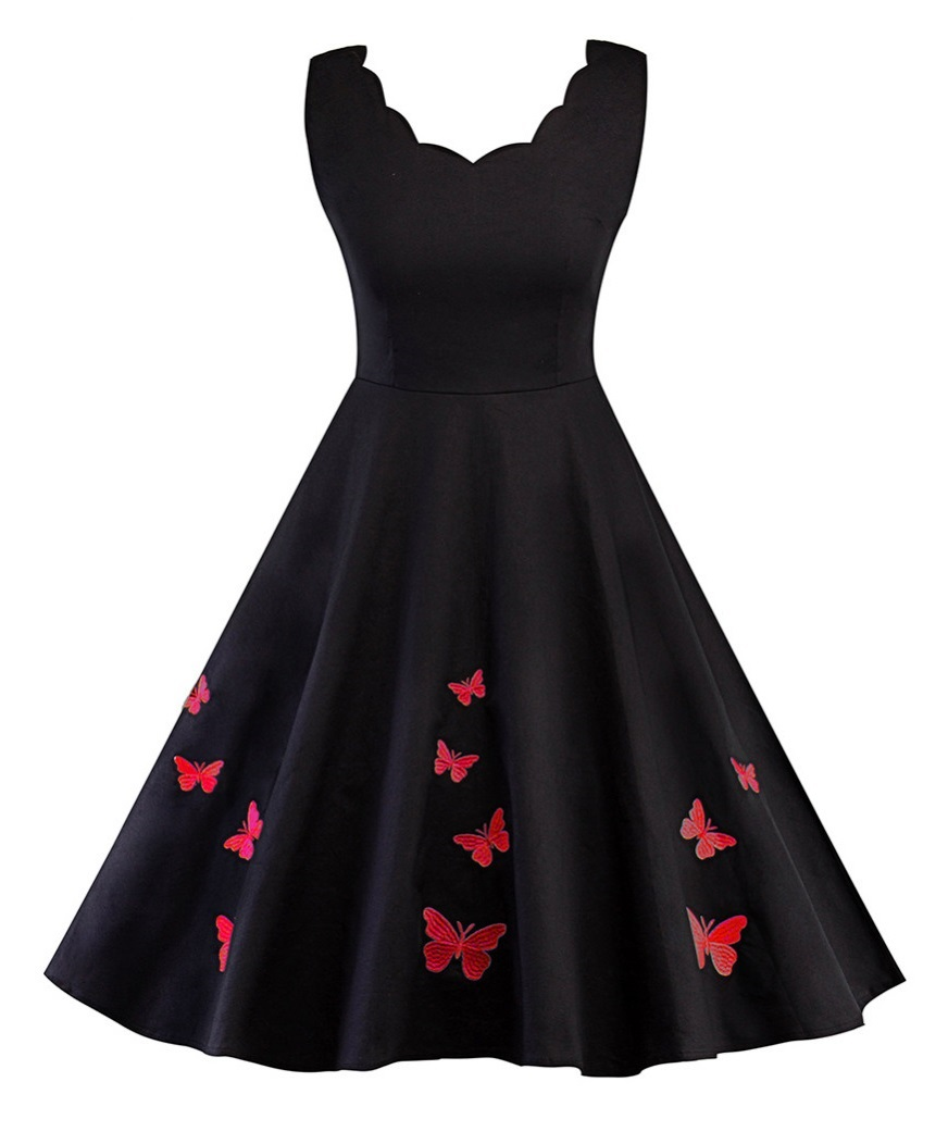 Poppy Red Butterfly Vintage Style Dress