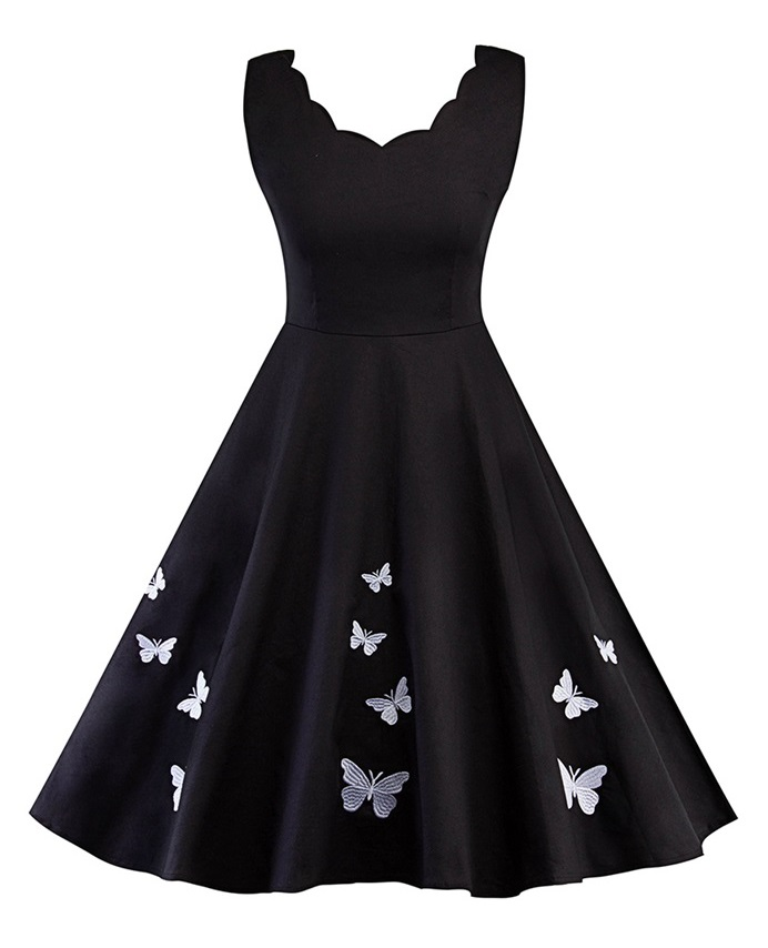 Poppy White Butterfly Vintage Style Dress