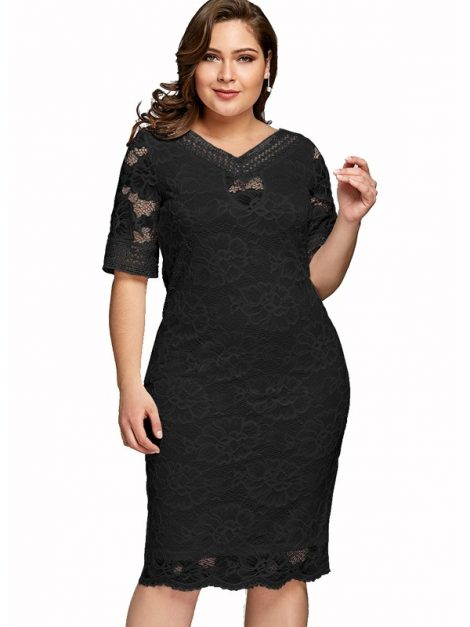 Sandra black lace plus size occasion dress 2rc