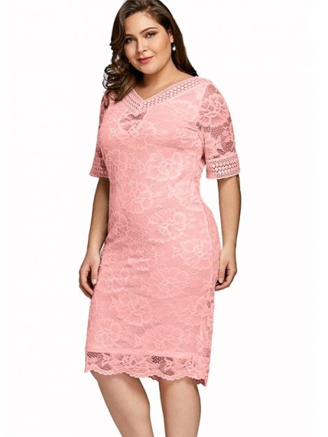 plus size pink lace prom dress | Vintage Clothing Online ...