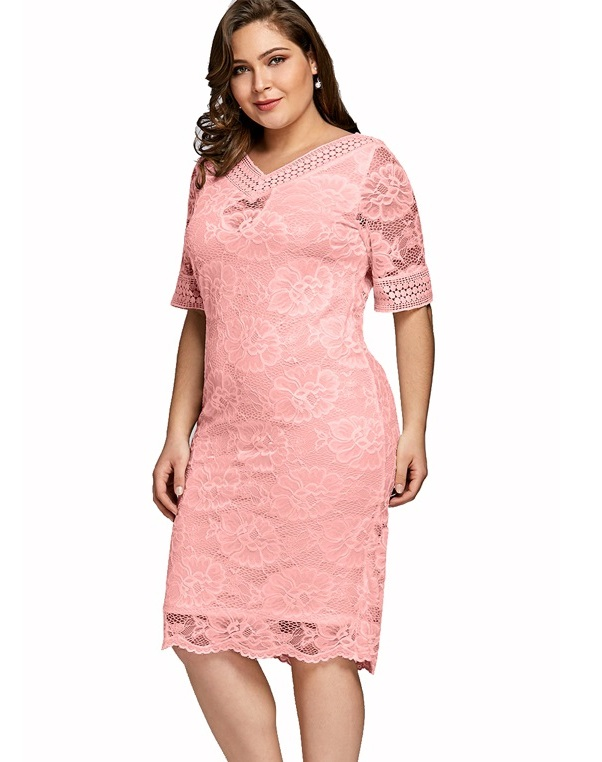 Sandra pink lace plus size occasion dress
