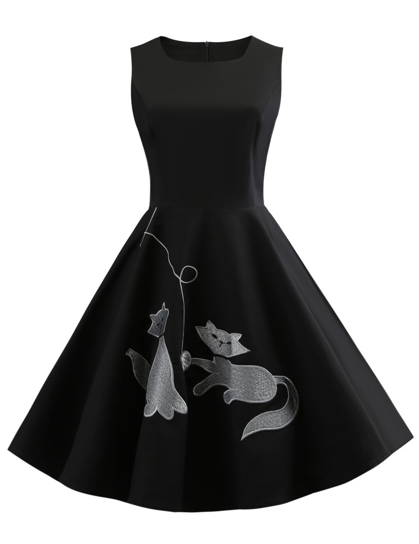 Kitty Cat Black 50s Dress