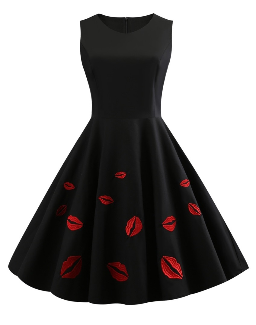 Hot Lips Black 50s Swing Dress