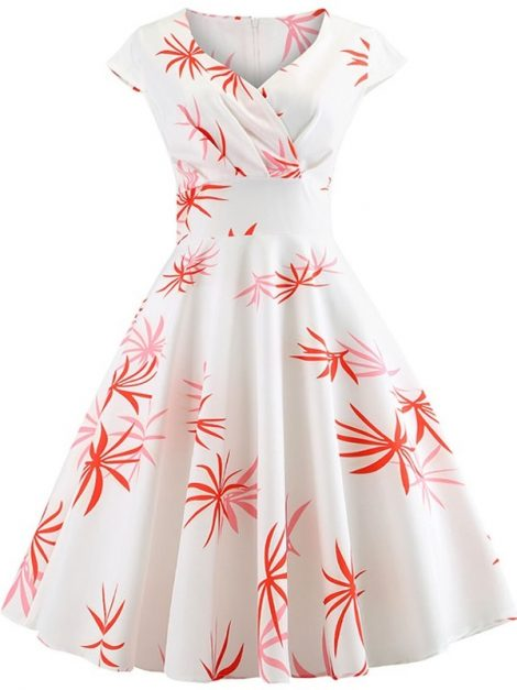 orange-palm-leaf-retro-floral-dress