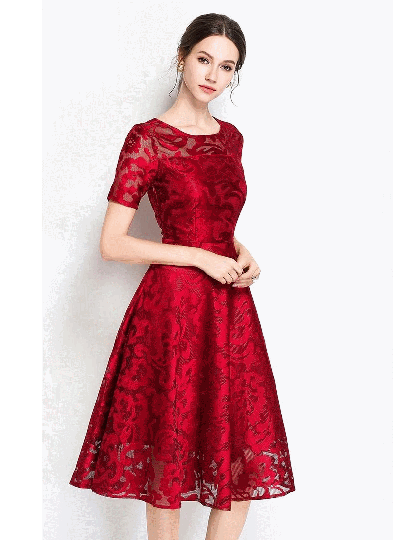 Stacy Red Lace Vintage Evening Dress
