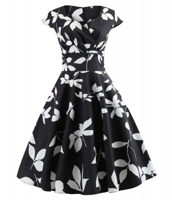 the-classic-black-and-white-floral-retro-dress