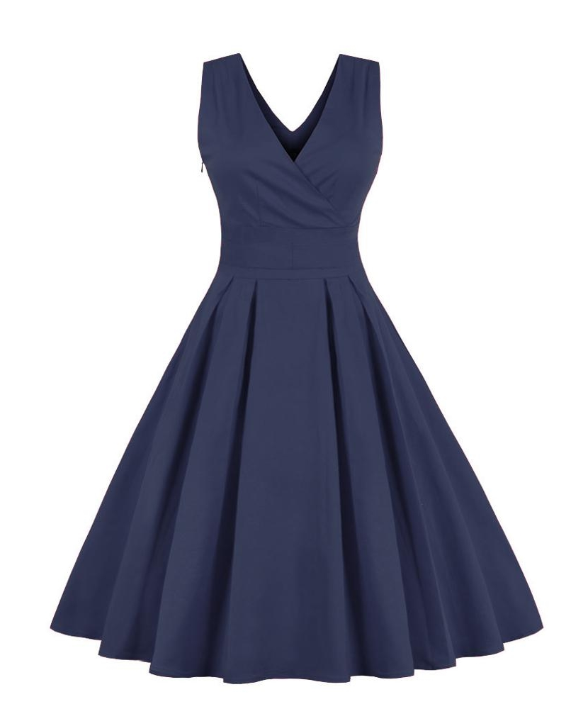 vera-navy-blue-crossover-v-neck-retro-dress