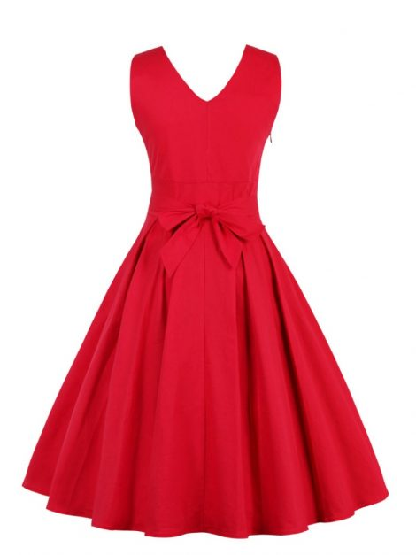 vera-red-crossover-v-neck-retro-dress