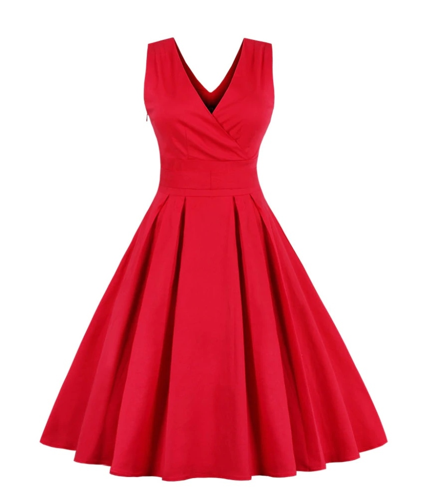 Vera Red Crossover V-Neck Retro Dress