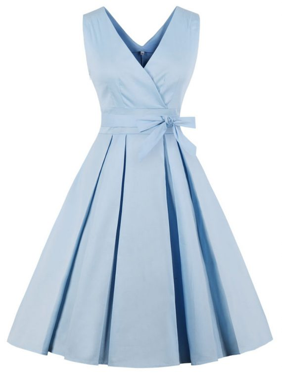 vera-sky-blue-crossover-v-neck-retro-dress