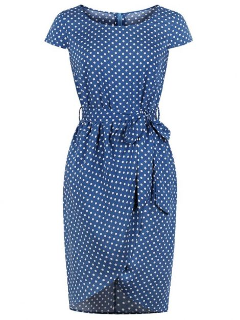 Amanda Blue Polka Dot 50s Pencil Dress