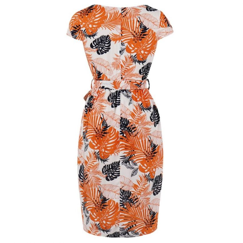 Amanda Orange Floral 50s Pencil Dress