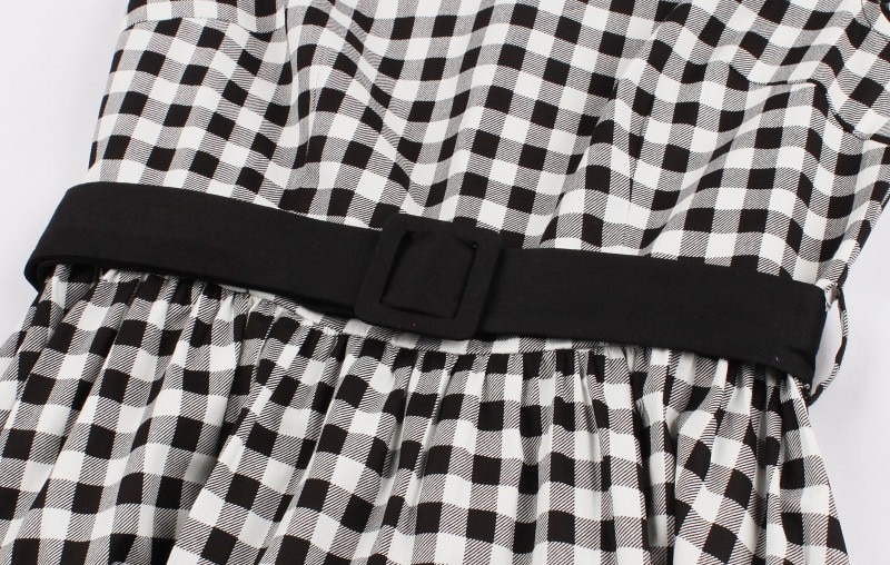 Elly May black gingham 50s dress