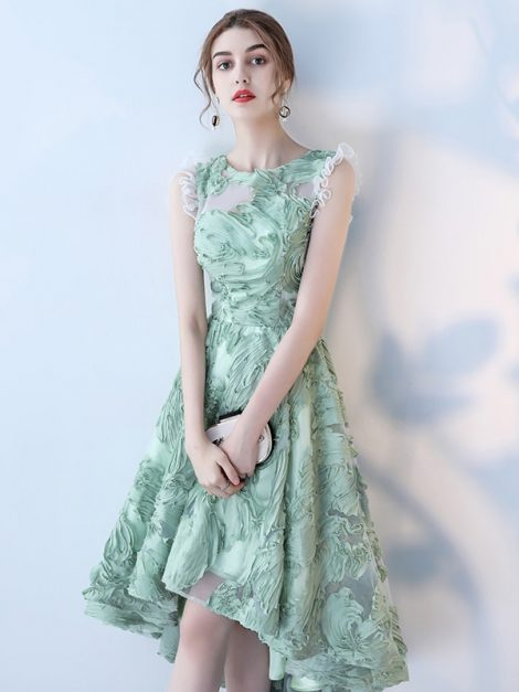 Kristin Mint Green Asymmetrical Vintage Occasion Dress
