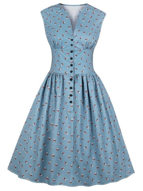 Libby Blue Floral Vintage Dress