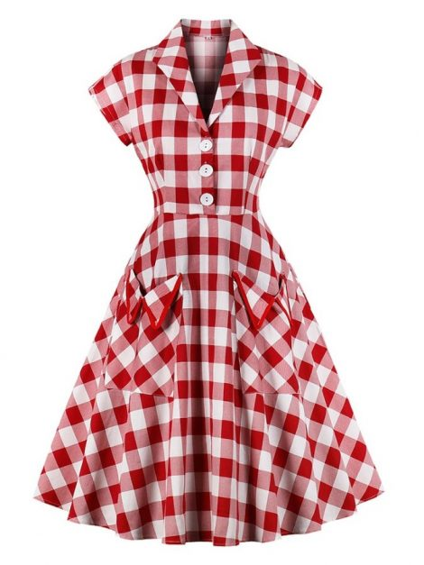 Matilda Red Gingham Retro Shirt Dress