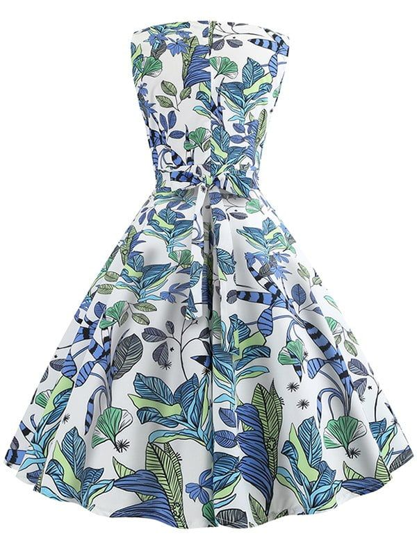 Tamara Blue And Green Retro Floral Dress