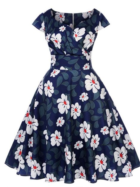 Angie Blue Retro Style Floral Summer Dress