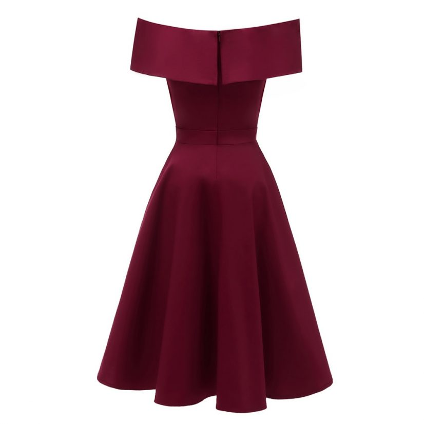 Elsa vintage style off the shoulder burgundy dress 1