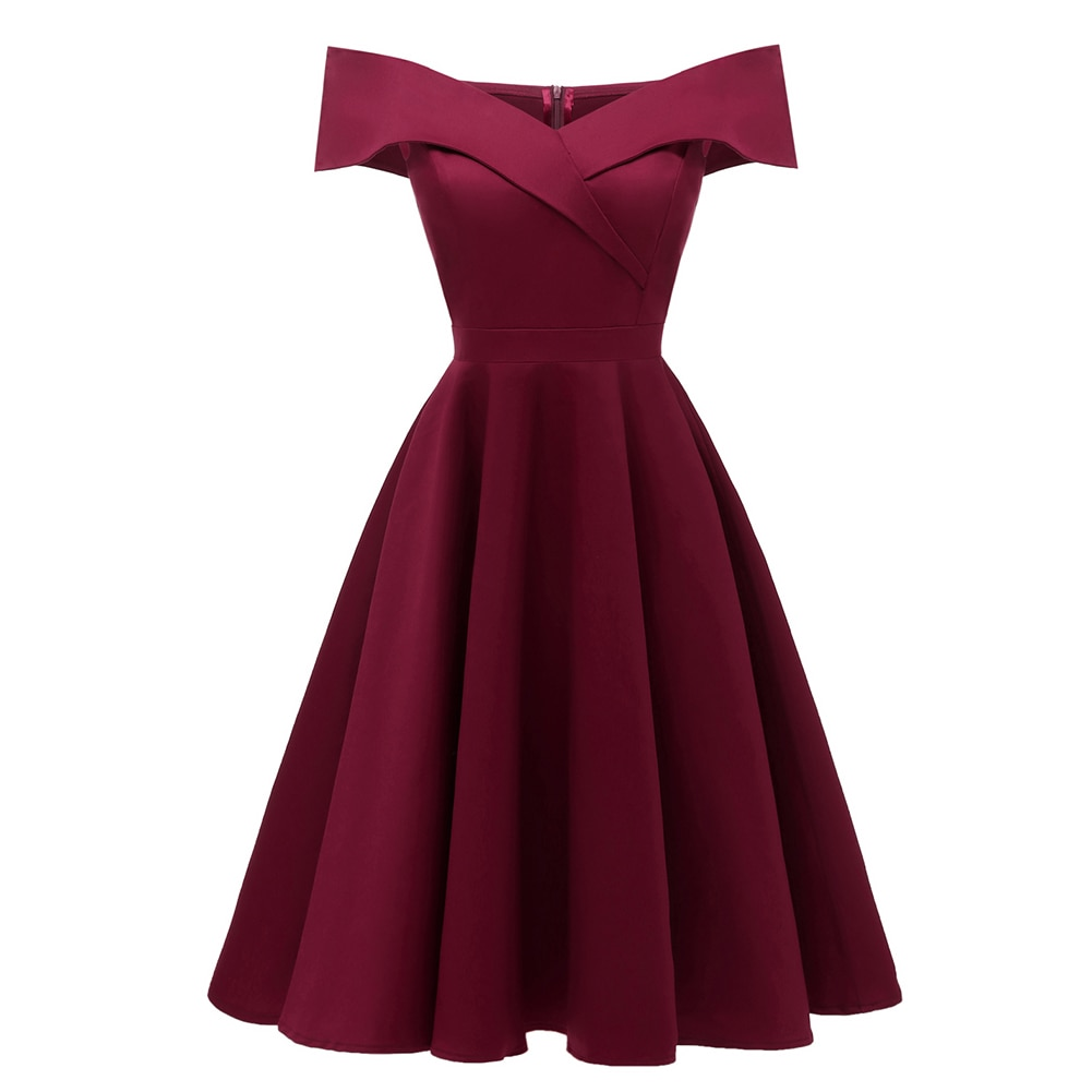 Elsa vintage style off the shoulder burgundy dress