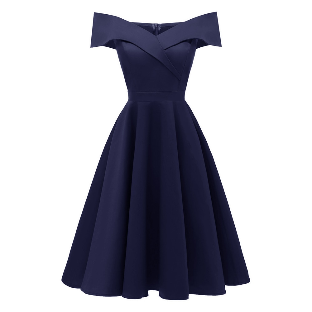 Elsa vintage style off the shoulder navy blue dress