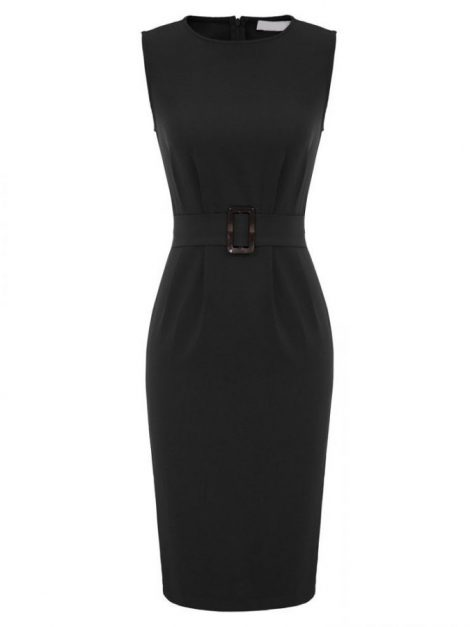 Jodie Black Vintage Style Pencil Dress