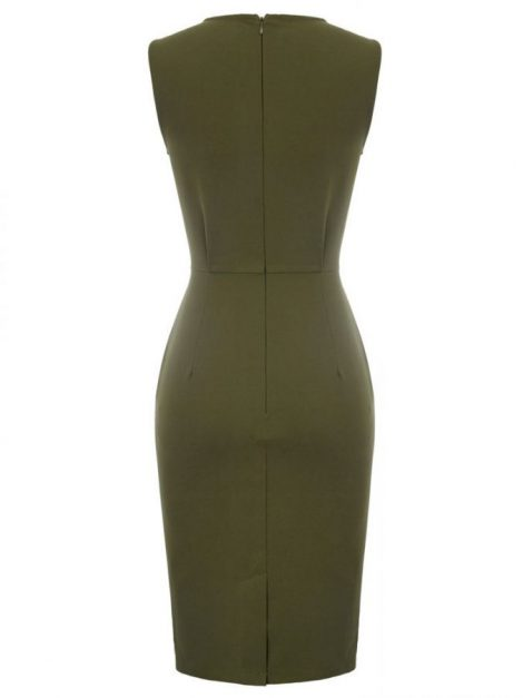 Jodie Olive Vintage Style Pencil Dress