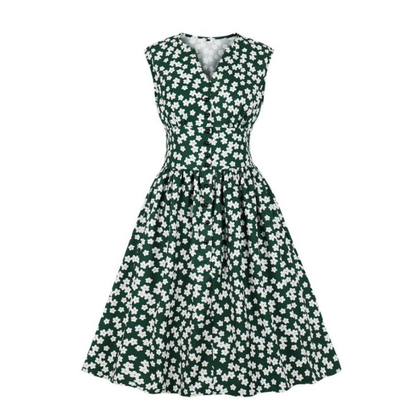 Libby dark green floral vintage dress