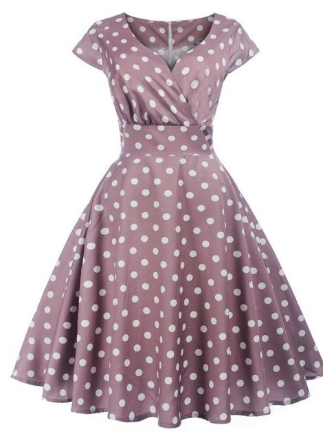 Shirley Crossover Mauve Polka Dot Dress