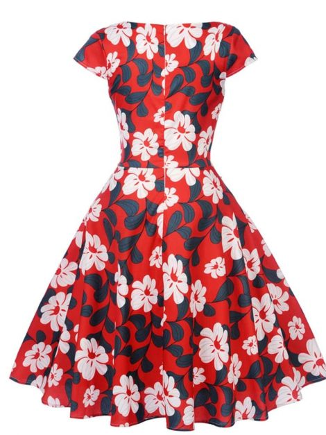 Angie Red Retro Style Floral Summer Dress