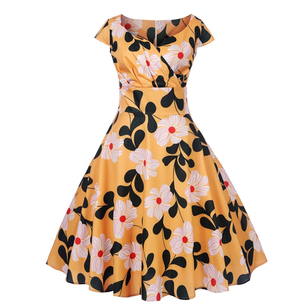 Angie Yellow Retro Style Floral Summer Dress